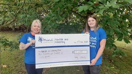 Katy Walkey (right) donated £4480 to mental health charity Mind in memory of her best friend Emily O
