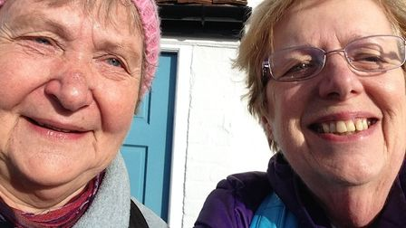 Rosemary Jewers, right, and her walking companion Rina Adams traced the ancient Roman route from Col