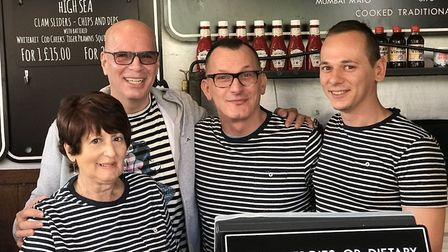 The team at the Grosvenor Fish Bar with owners Duane Dibartolomeo centre left and Christian Motta, c