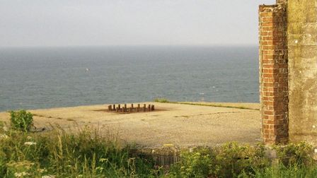 The bolts use to mark a ring around where the Second World War guns were fixed on two emplacements a