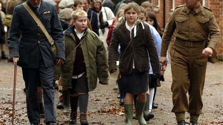 Evacuees in the grounds of Holt Hall during the 1940's live experience. The Victorian Grade II list