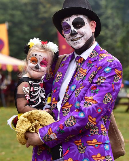 The Fairyland trust's Real Halloween event at Holt Hall. Al Huckstep with his daughter Fenna. PHOT