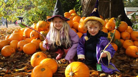 Amelie and Alby Barker from Wymondham at the Real Halloween at Holt Hall, with the wands they ha