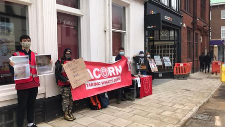 Community union Acorn protested outside abbotFox's office on Upper King Street, Norwich, on Saturday
