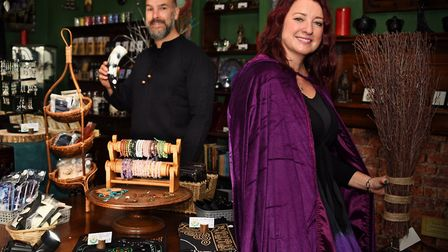 Samantha and Gary Wootton in their newly opened Elementals Magickal Emporium at Wymondham. Picture:
