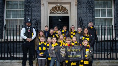Nikki Scott and members of Scotty's Little Soldiers outside 10 Downing Street Pictuyre: Scotty's Li
