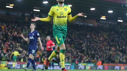 Mario Vrancic celebrates scoring Norwich's first goal during the match against Spurs at Carrow Road,
