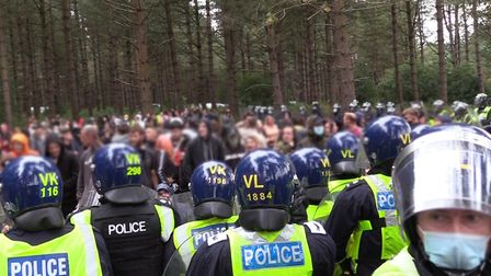 Police trying to break up an illegal rave in Thetford Forest. Picture: Norfolk Constabulary