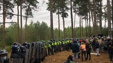 Police at the scene of an illegal rave in Thetford Forest. Picture Submitted