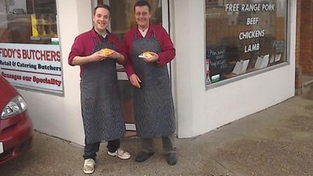 Tom Fiddy, left, and Graham Fiddy, right, outside Fiddy's Butchers on Aylsham Road, Norwich. PIC: Su