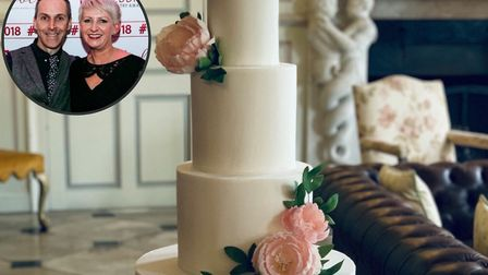 Debbie and Giles Cowley of Sassa's Bespoke Cakes (inset) are booked into 2021 but are struggling wit