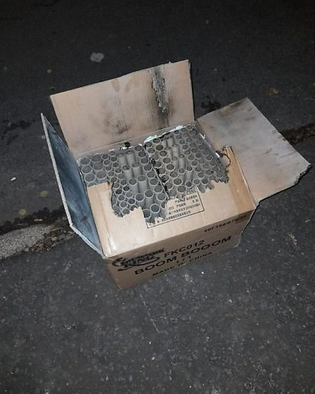 The burnt-out box left after the fireworks in Ranworth Road, Norwich. Picture: Supplied