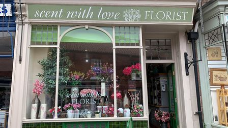 Outside the new florists shop, Scent With Love, which has taken over from Rainbow Deli on Fakenham's