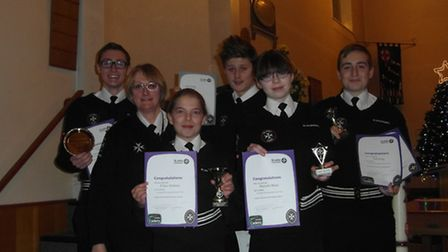 St John Ambulance Bungay unit cadets with their awards.