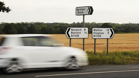 The B1108 between Norwich and Watton. Drew Southernwood has admitted knocking down a pedestrian on t