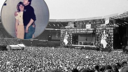 Chrissie and Alan Chesters (inset) designed the first Live Aid Set. Pictures: PA/Hangman
