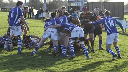 Action from Norwich's 27-24 defeat to Diss in the semi-finals of the Norfolk Senior Cup at Beeston H