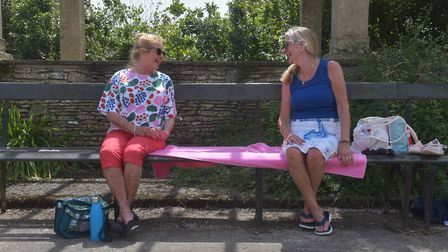 Former shielders Wendy Howe left and Sue Lawrence at Waterloo Park after lockdown restrictions alte