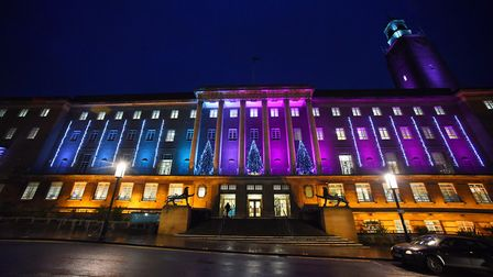 The Christmas lights at City Hall. Picture: DENISE BRADLEY