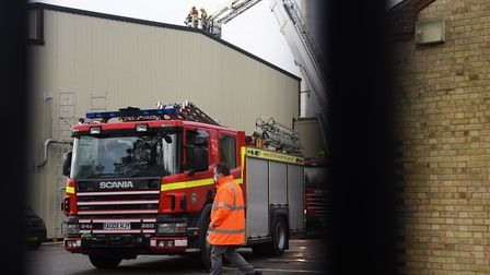 Fire appliances at the fire at Banham Poultry. Picture: DENISE BRADLEY