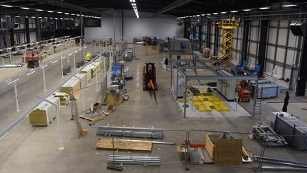 The new production lines under construction in the production facility at Lotus Cars. Picture: DENI