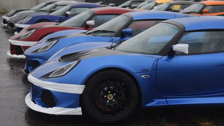New Lotus cars at the factory at Hethel. Picture: DENISE BRADLEY