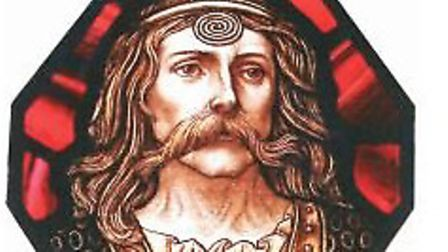 Portrait of Caratacus from a stained glass window in Colchester Town Hall. Picture: Miranda Aldhouse
