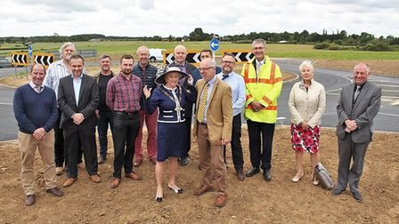 Residents and parish councillors at the opening of the Hales roundabout back in 2018. PHOTO: Hales a