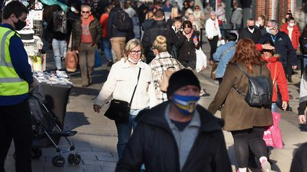 Crowds in Gentleman's Walk the day before the second lockdown begins. Picture: DENISE BRADLEY
