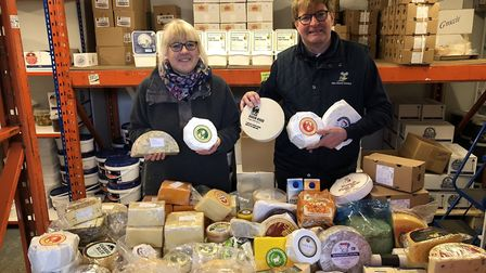 John Killett (right) runs the Cheese Shed warehouse in the Norwich Road Business Park with Martin Ma