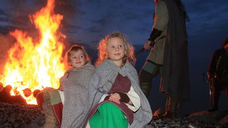 A scene from the boat-burning on the beach during the 2020 Sheringham Scira Viking Festival. Photo: