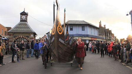 The 28ft longship on its way to the seafront at a previous Sheringham Viking Festival. Photo: KAREN