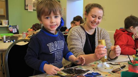A make-your-own Viking mask, sword and shield workshop held at Oddfellows Hall as part of the annual