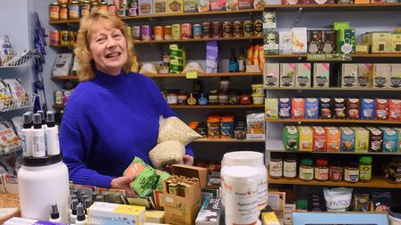 Shopping Local in Fakenham. Owner Janis Greenaway at The Larder, selling quality wholefoods. Picture