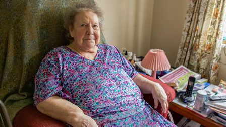 A customer of The Buitchers Arms in East Ruston waiting for her Sunday roast dinner delivery. Pictur