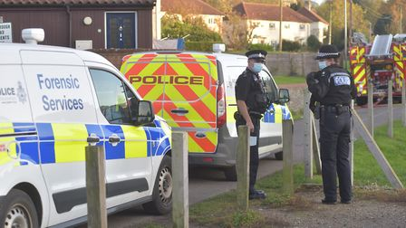A cordon in place and emergency services on the scene of an incident in Old Becclesgate in Dereham.