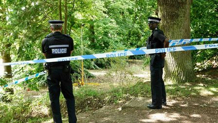 Police at the the scene of where Gemma Cowey was found stabbed to death in Thorpe St Andrew. Picture