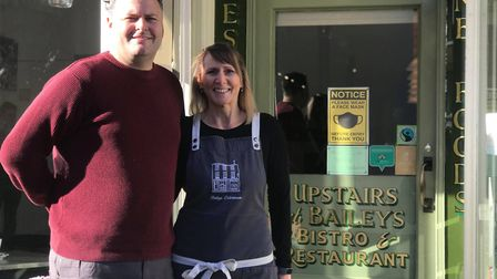 Paul and Suzanne Buck outside Baileys Bistro in Beccles where they are preparing for lockdown 2.0. P