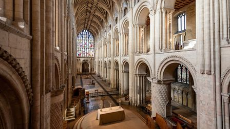 The Nave in Norwich Cathedral where services have been replaced by individual prayer and reflection