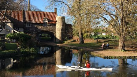 An idyllic view of Norwich - the bench near Pull's Ferry. Picture: Nick Richards