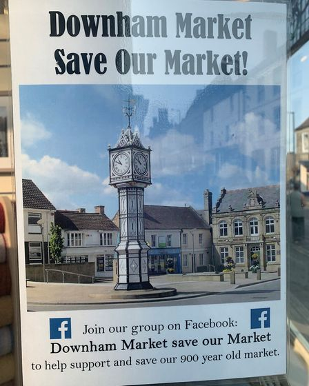 'Save our Market' leaflet on display in a Downham Market business. Picture: Sarah Hussain