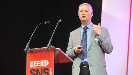 Ian Moulton speaking at the Southern North Sea conference. Photo: Bill Smith