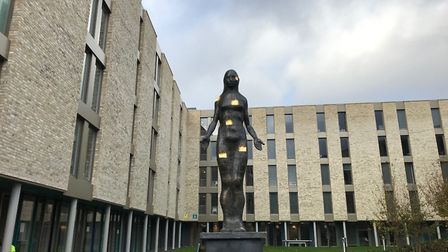 The Architect sculpture at Benedict's Gate student accommodation in Norwich designed by Joseph Hilli