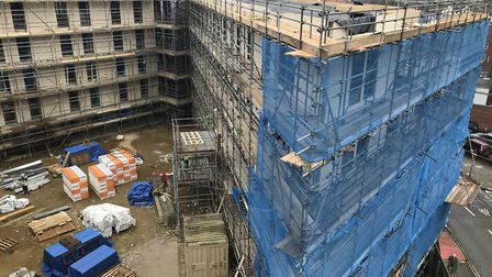 The 302-bed Benedicts Gate student accomodation being built in central Norwich should be complted by