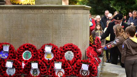 A previous Remembrance Day service at Beccles War Memorial. Picture: Antony Kelly