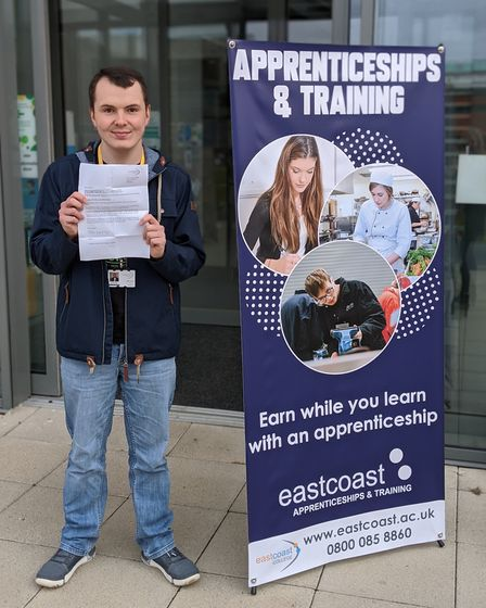 East Coast College student Jake Lockey with his letter backing Sizewell C. Picture: East Coast Colle