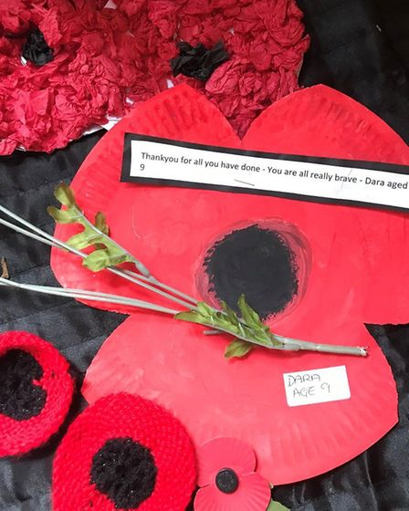 Poppies from Caston Primary School pupils have decorated Thorp House in Griston Watton, which enjoys