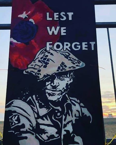 This poignant Remembrance painting at Gorleston has won warm approval from people in Gorleston who p