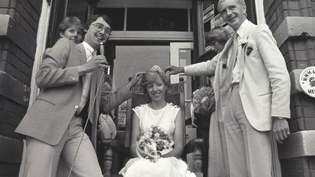 Wally Webb (right) crowning Sheringham's 1983 carnival queen Photo: Archant