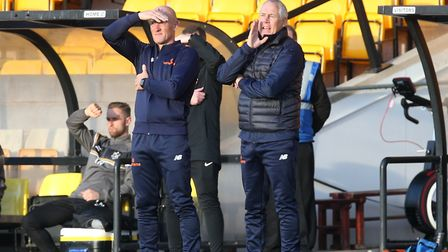 King's Lynn Town boss Ian Culverhouse, right, and assistant Paul Bastock Picture: Gerard Austin